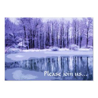 "Blue Pond Winter Solstice Party Invitation 5"" X 7"" Invitation Card"