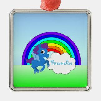 """Blue Pony and Rainbow"" Metal Ornament"