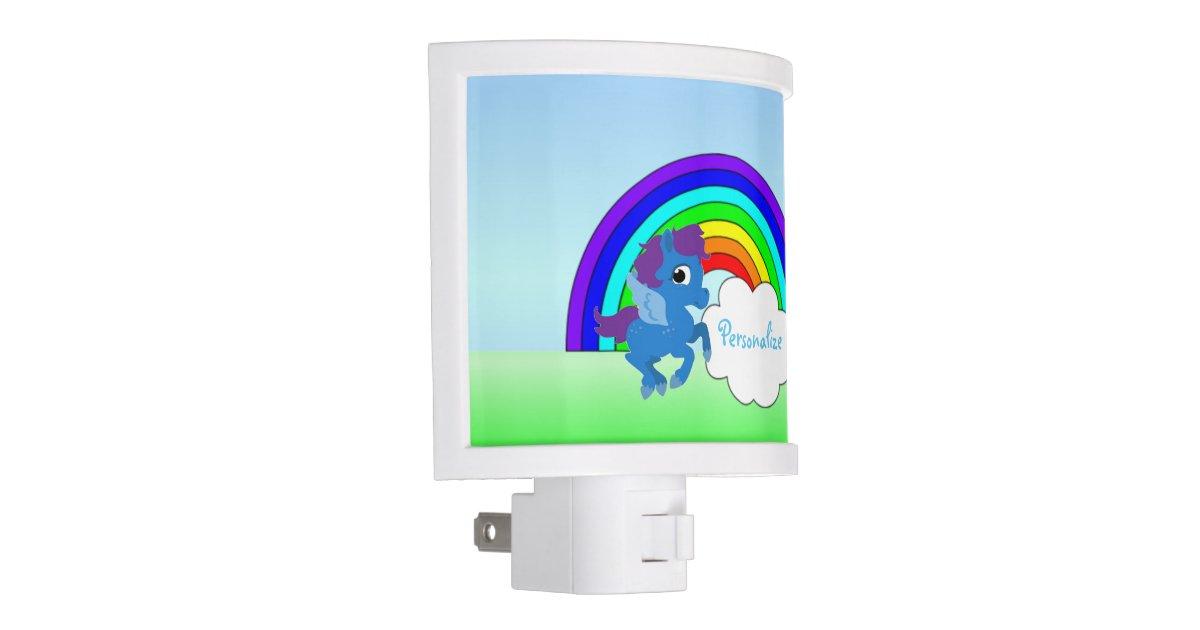 Blue Pony And Rainbow Night Light Zazzle