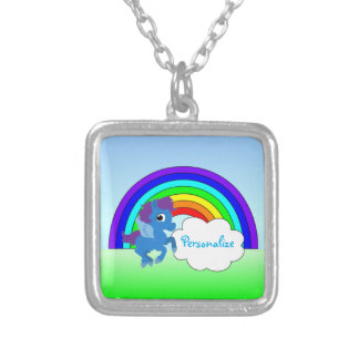 """""""Blue Pony and Rainbow"""" Silver Plated Necklace"""