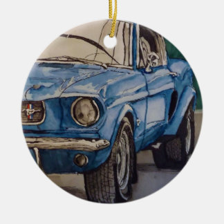 Blue Pony Ceramic Ornament