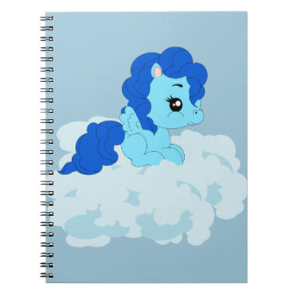 Blue pony on the cloud - Photo Notebook