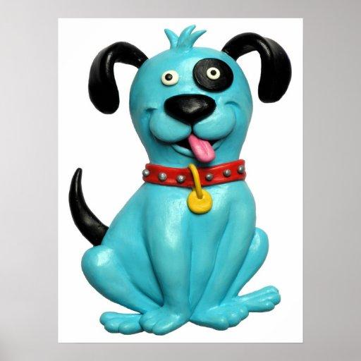 Blue Pooch Baby Boy Shower Nursery Poster