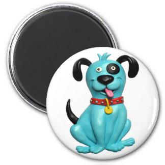 Blue Pooch 2 Inch Round Magnet
