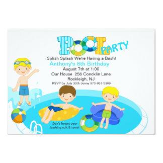 Blue Pool Party All Boys Birthday Invitation