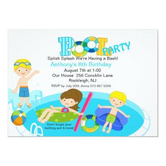 Blue Pool Party  Birthday Invitation