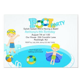 Blue Pool Party Boys Birthday Invitation