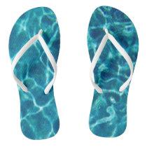 Blue Pool Water Flip Flops