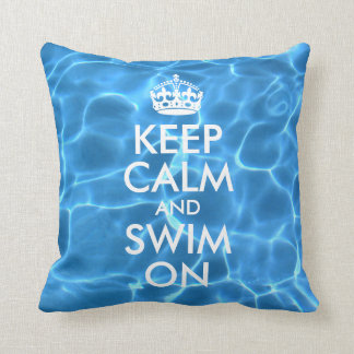Blue Pool Water Keep Calm and Swim On Pillows