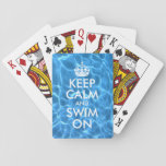 """Blue Pool Water Keep Calm and Swim On Playing Cards<br><div class=""""desc"""">Customizable &quot;Keep Calm and Swim On&quot; with white text against tinted photo of blue swimming pool water.</div>"""