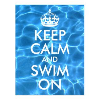 Blue Pool Water Keep Calm and Swim On Postcard