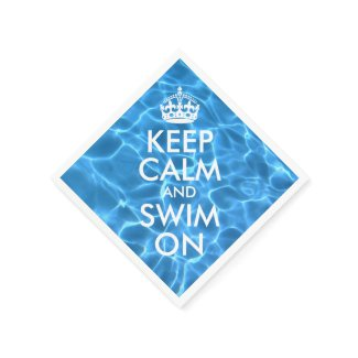Blue Pool Water Keep Calm and Swim On Standard Cocktail Napkin