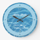 Blue Pool Water Sky Blue Stripes Cool Aquatic Swim Large Clock