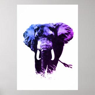 Blue Pop Art Elephant Ink Paint Poster