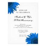 Blue Pop Art Flower Wedding Anniversary Party Custom Invite