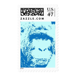 Blue Pop Art Gorilla Face Postage