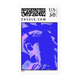 Blue Pop Art Lady Liberty Stamp