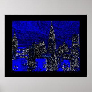 Blue Pop Art New York City Art Poster