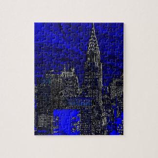 Blue Pop Art New York City Jigsaw Puzzle