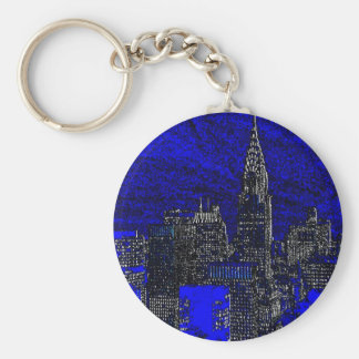 Blue Pop Art New York City Keychain