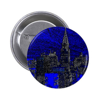 Blue Pop Art New York City Pinback Button