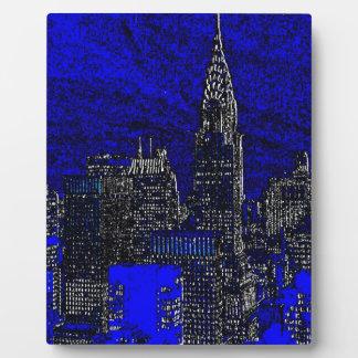 Blue Pop Art New York City Plaque