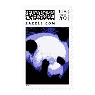 Blue Pop Art Panda Portrait Postage