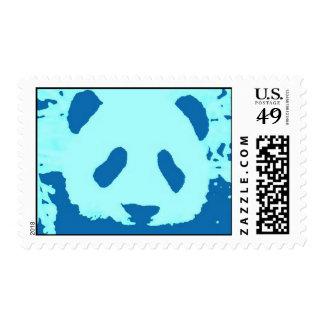 Blue Pop Art Panda Postage