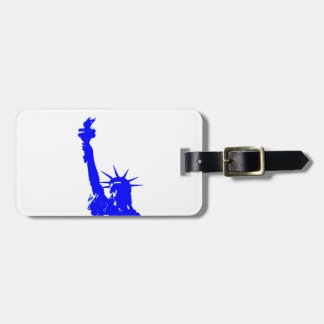 Blue Pop Art Statue of Liberty Luggage Tag