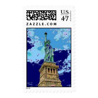 Blue Pop Art Statue of Liberty Postage