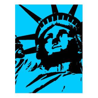 Blue Pop Art Statue of Liberty Postcard