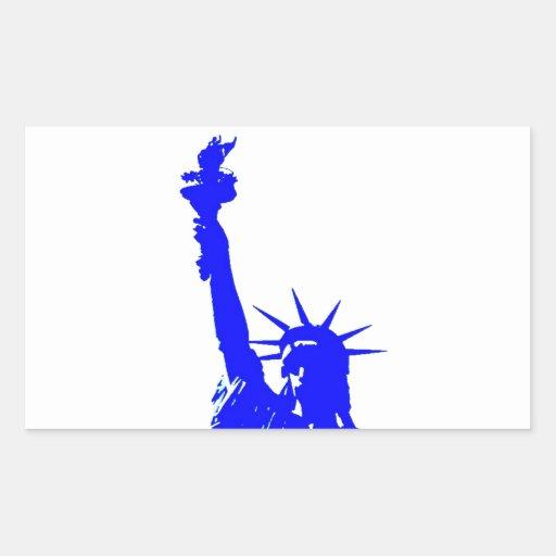 Blue Pop Art Statue of Liberty Rectangular Sticker