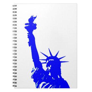 Blue Pop Art Statue of Liberty Spiral Notebook