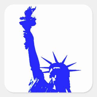 Blue Pop Art Statue of Liberty Square Sticker
