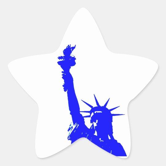Blue Pop Art Statue of Liberty Star Sticker