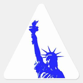 Blue Pop Art Statue of Liberty Triangle Stickers