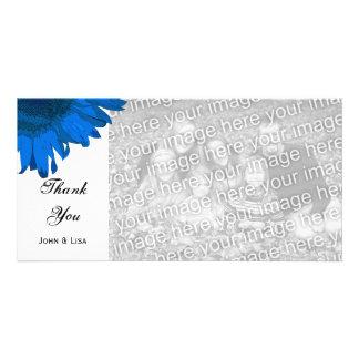 Blue Pop Art Sunflower Thank You Photo Card
