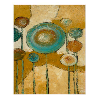 Blue Poppies #3 Abstract Art Print