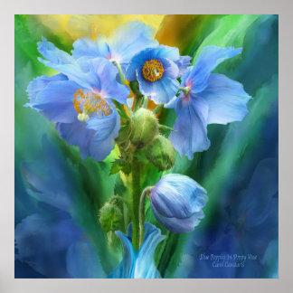 Blue Poppies Bouquet Art Poster/Print Poster