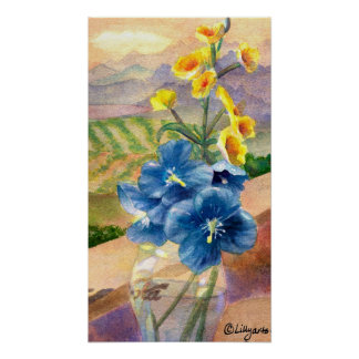 Blue Poppies Crop Watercolor Poster Print
