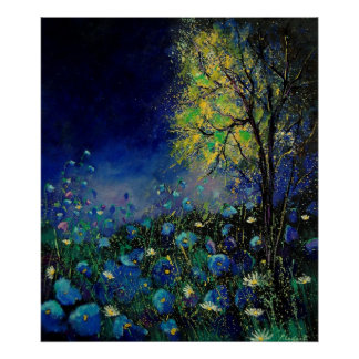 blue poppies daisies posters