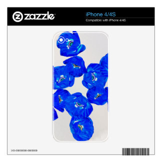 blue poppies decal for the iPhone 4