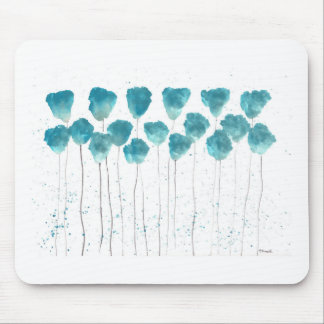 Blue poppies flowers art print mouse pad