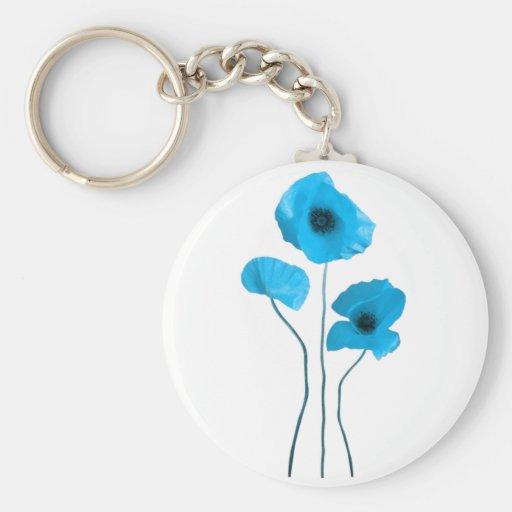 Blue poppy - amapola azul llavero redondo tipo pin