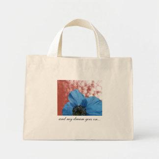 BLUE POPPY dream goes on red Mini Tote Bag