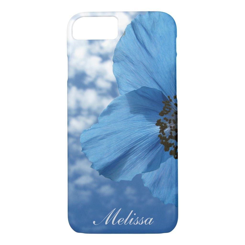 BLUE POPPY Flower Blue Sky Custom Name