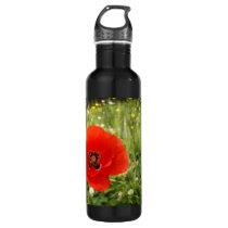 Blue Poppy Flower Stainless Steel Water Bottle