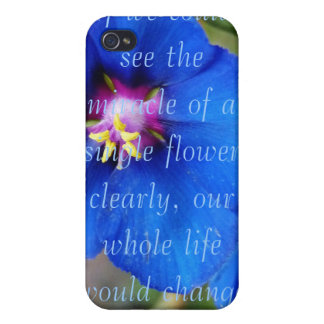 Blue Poppy flower with quote i phone 4 speck case Cases For iPhone 4
