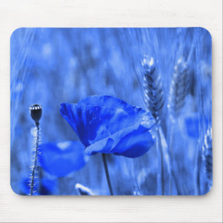 Blue poppy mouse pad