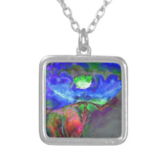 Blue Poppy Silver Plated Necklace